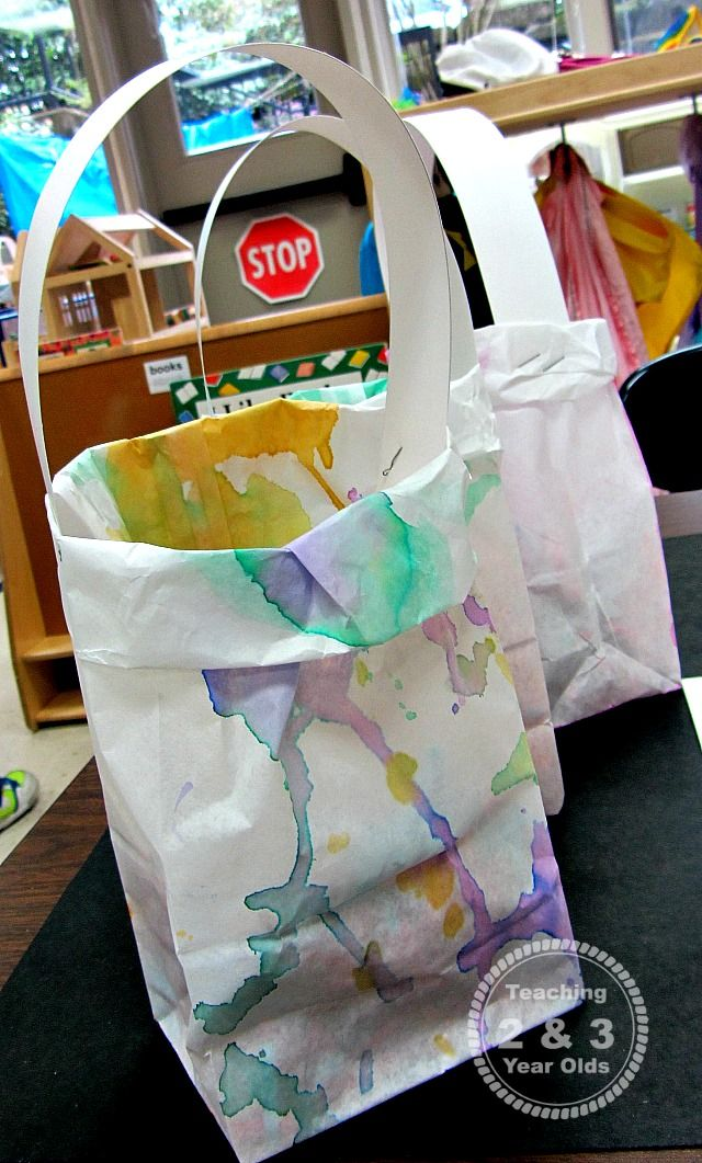 Easy homemade easter bags for kids easter bag and crafts teaching 2 and 3 year olds watercolor easter or mothers day gift bags that preschoolers negle Gallery