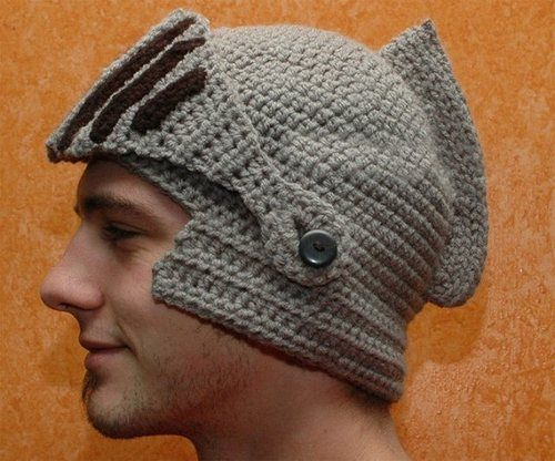 nothingvia:    Hand Crocheted Knight Helmet Hat With Button-On Movable Visor)    This sums up most sadly the softened state of manlessness in our century.