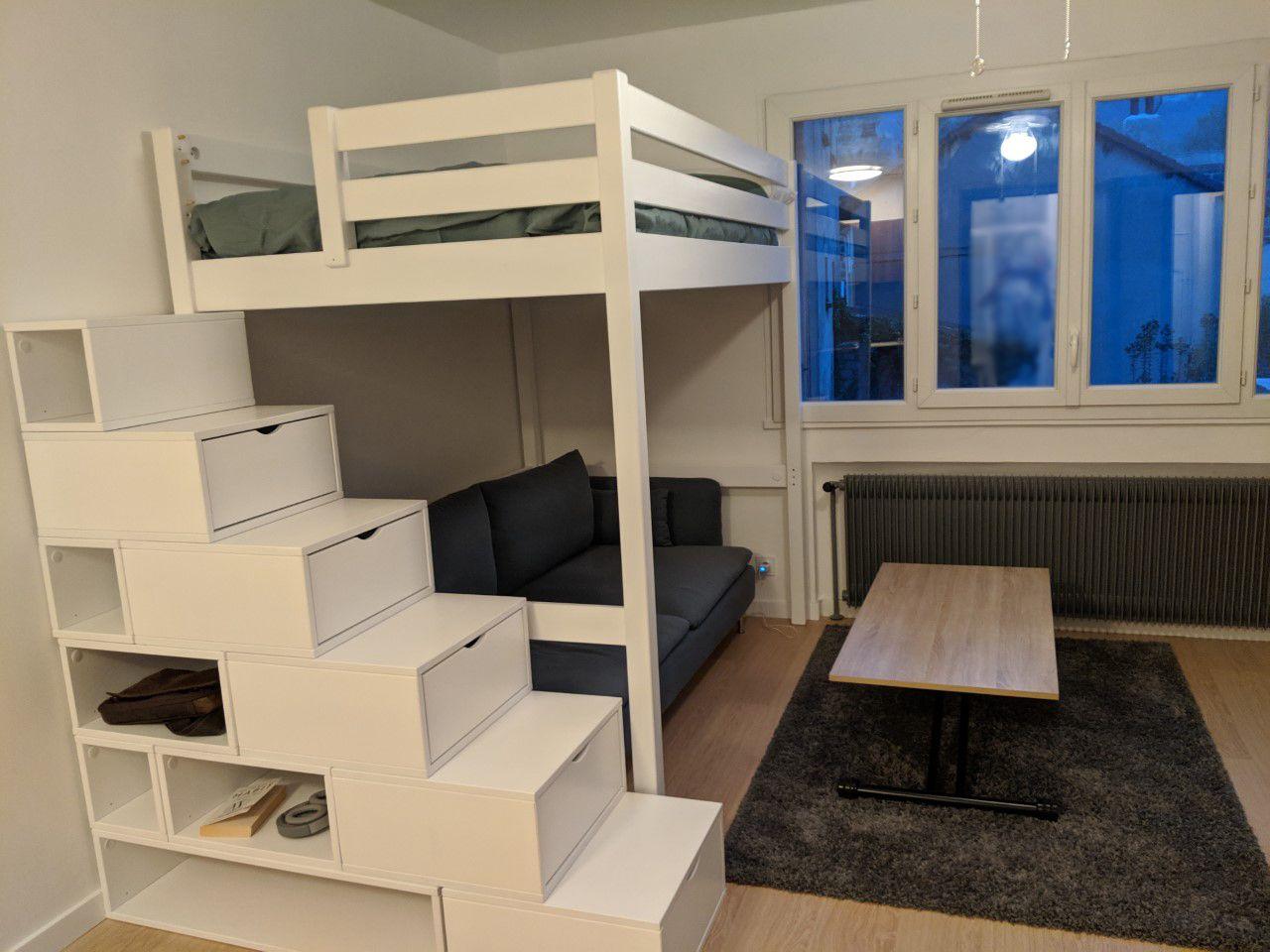 Mezzanine Avec Escalier Cube De Rangement Lit Mezzanine Chambre Ado Lit Chambre Ado Lit Mezzanine