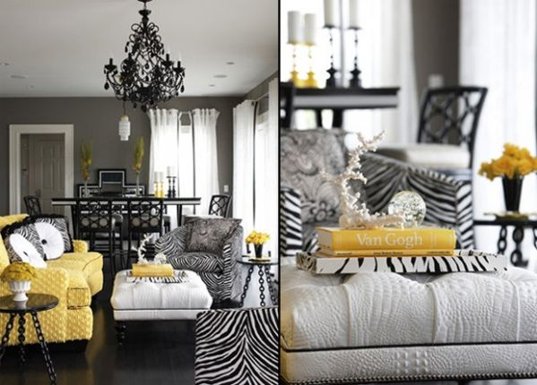 Zebra print decor. Tara, how cute is this yellow couch? almost the same color as my kitchen walls