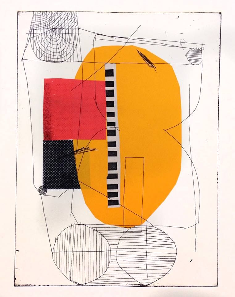 "garadinervi: "" atelier bingo, Etching with paper color, 2016 """