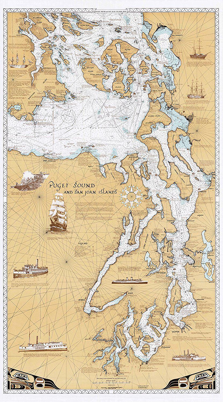 sobay map p001 puget sound san juan islands chart on laminated wall maps id=41491