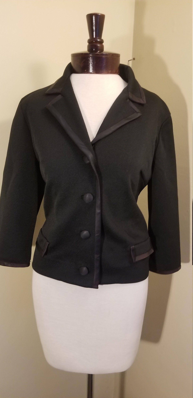 Vintage 1950s 1960s Black Suit Jacket 1950s Womens Suit Etsy Suit Jackets For Women Black Suit Jacket Knitted Suit [ 3000 x 1458 Pixel ]