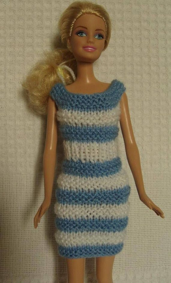 Blue and white dress for Barbie doll Modèles tricot