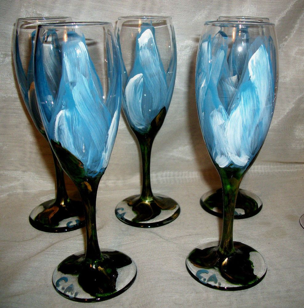 Set of 5 Glass Hand Painted Blue White Footed Tumblers Goblets Champagne Glasses