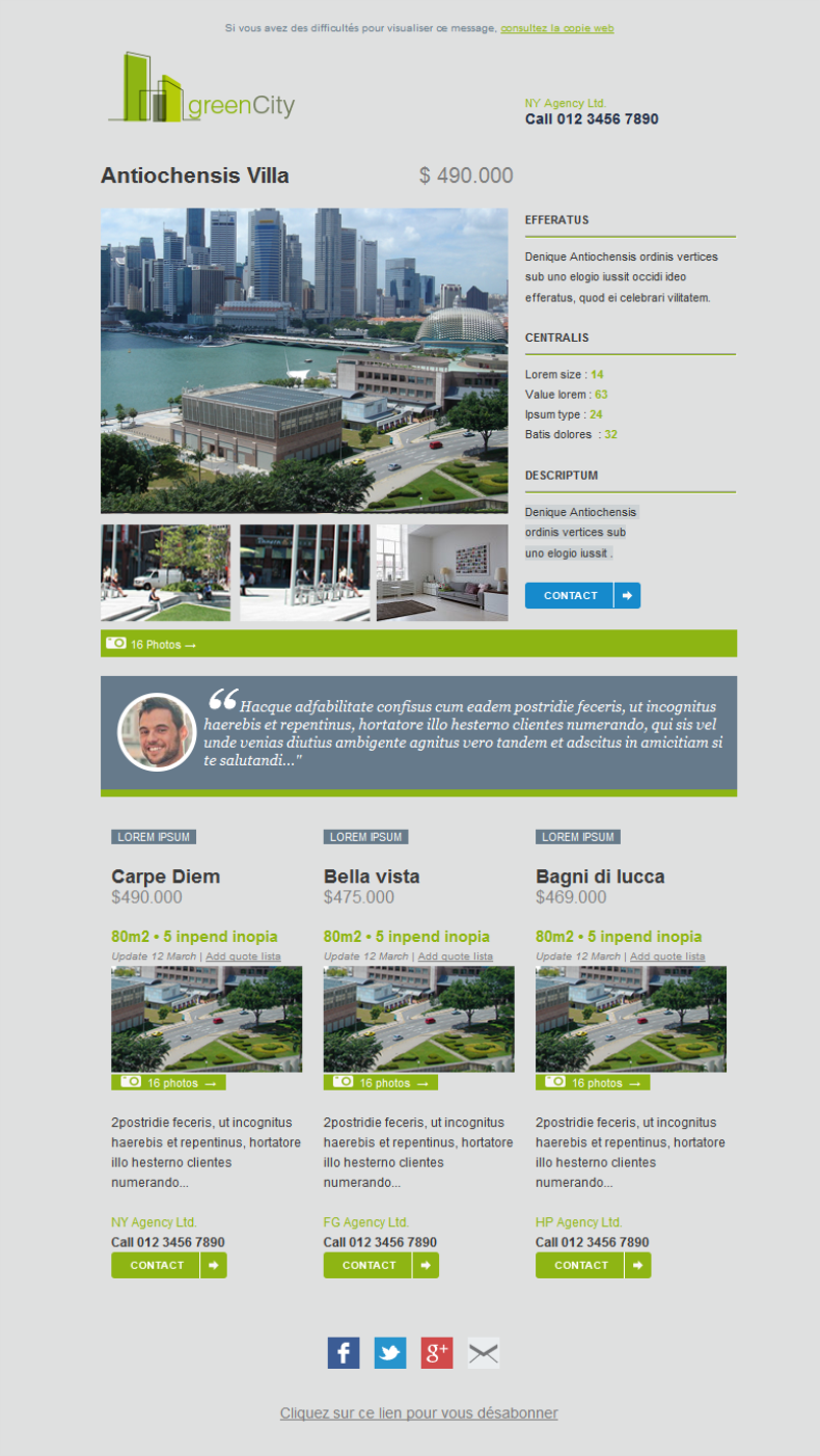 RealEstate Email Marketing #Template. Completely #responsive and ...