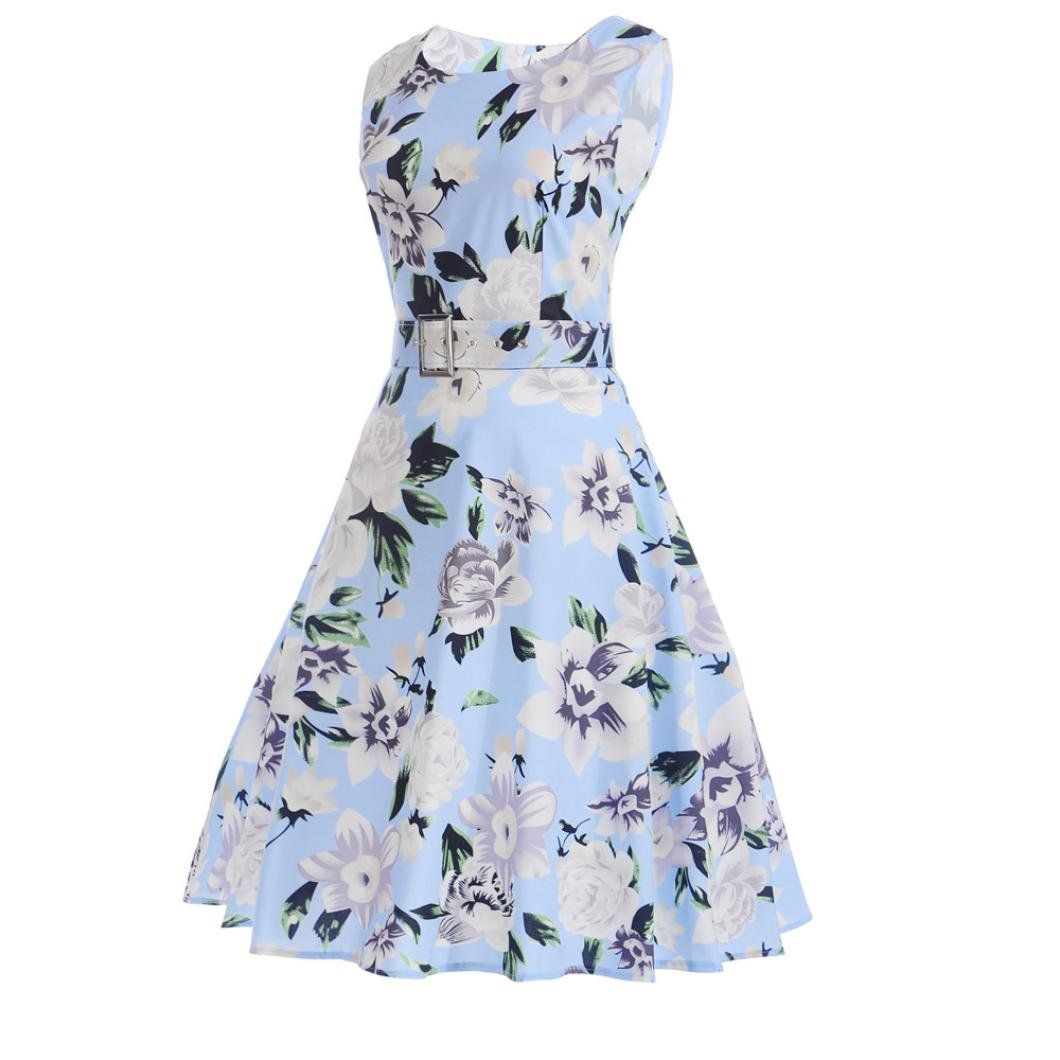 11a2970becd Perman Womens Dress Cheap Vintage Sleeveless Bodycon Aline with Belt  Evening Party Prom Swing Dress     Click on the image for additional  details.