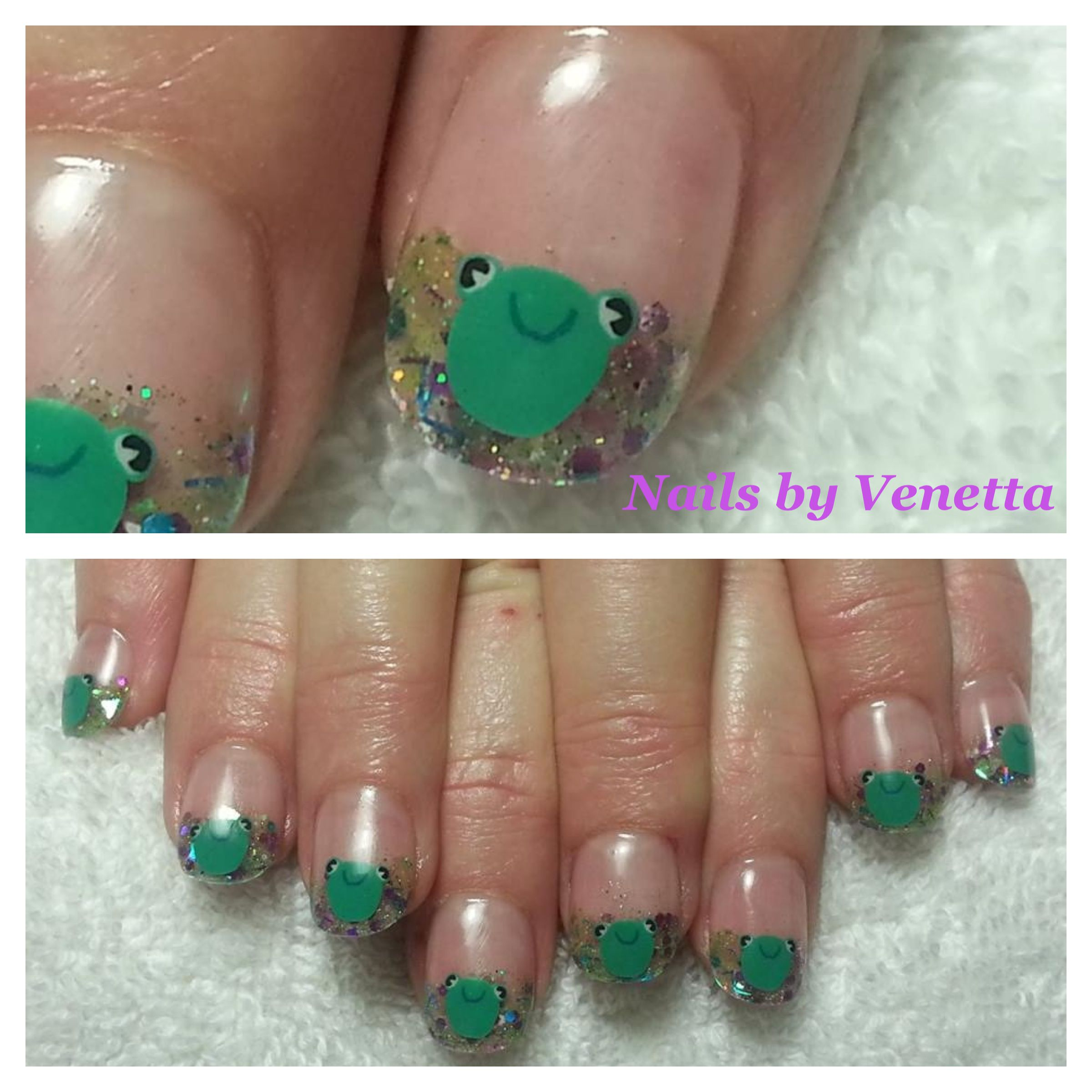 Frog Fimo Green French Acrylic Nails | Fingers or toes! | Pinterest