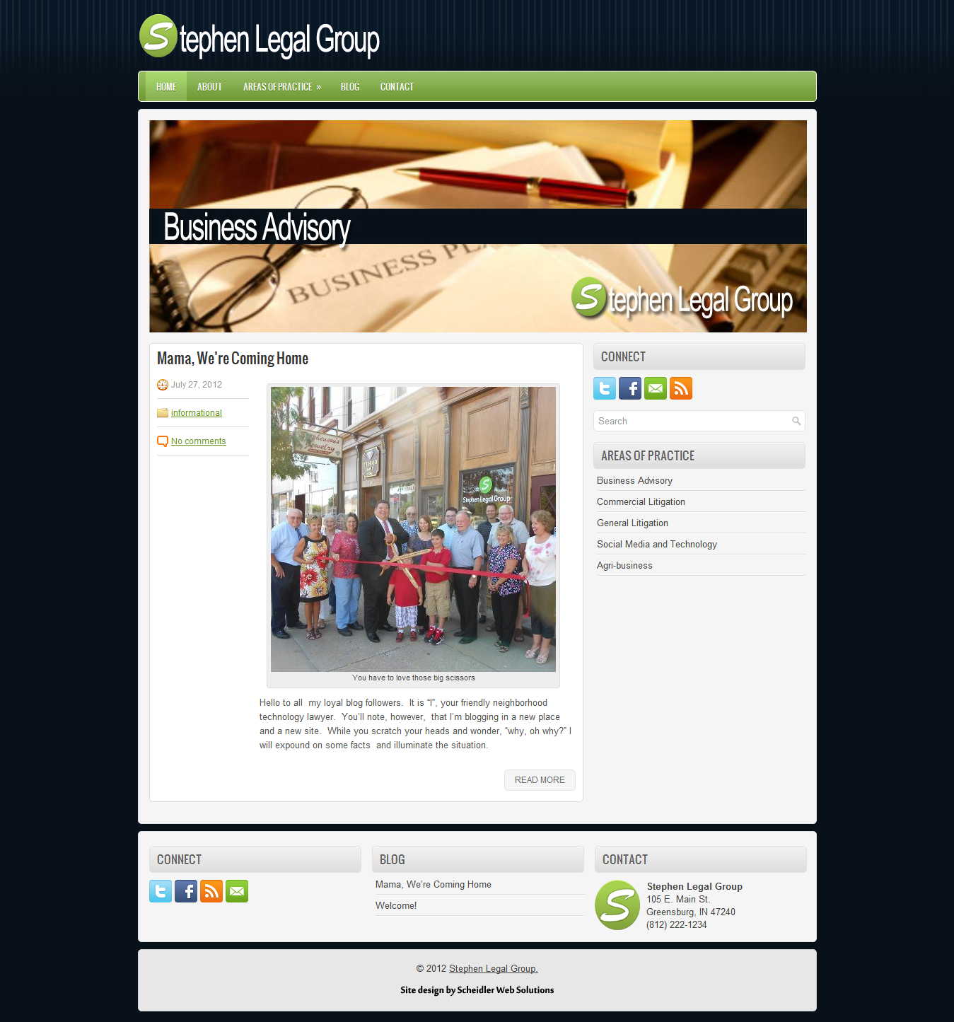 StephenLegal.com launched in July 2012 to coincide with the opening of the firm's office in Greensburg, Indiana.