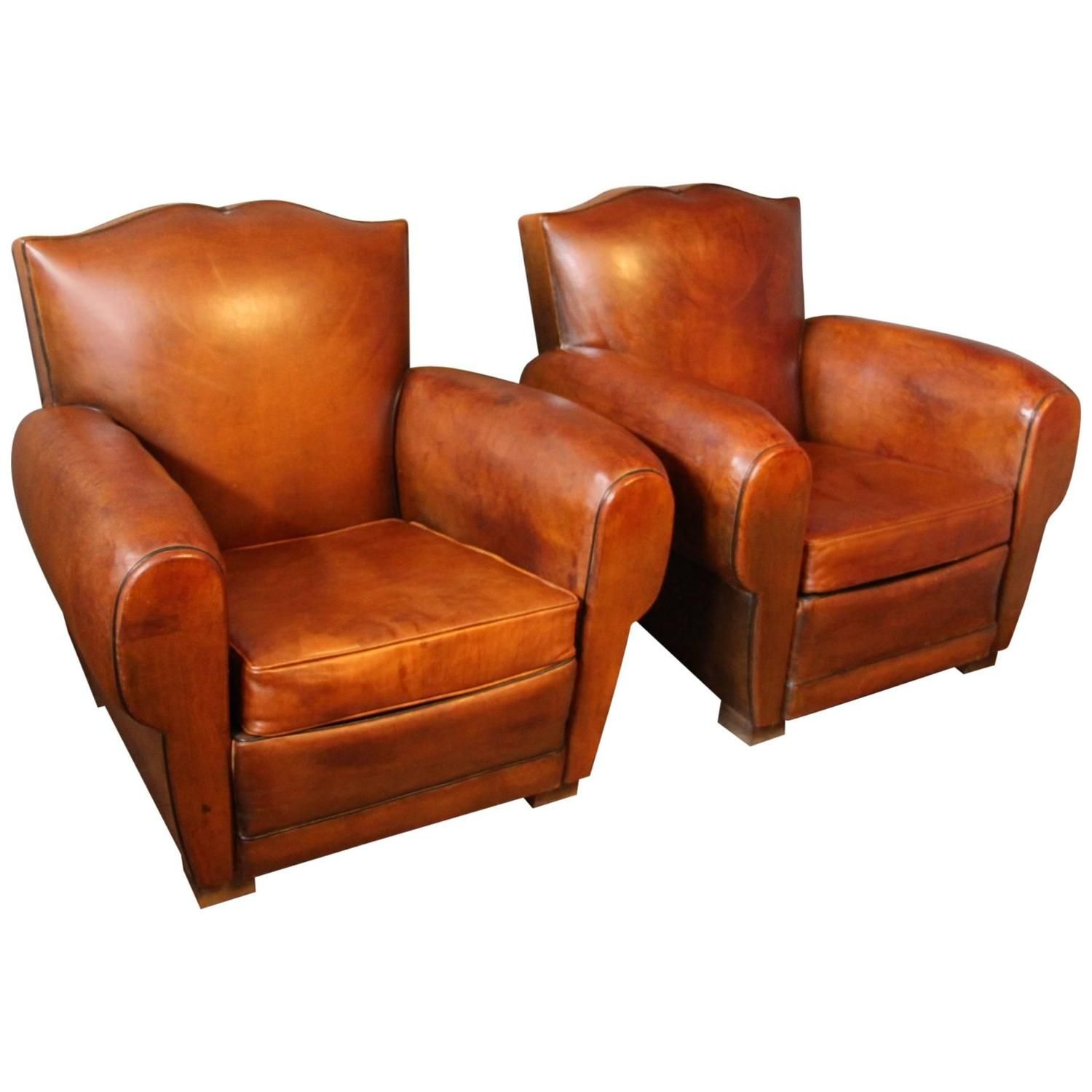Attractive Pair Of 1930s French Leather Club Chairs, Mustache Back