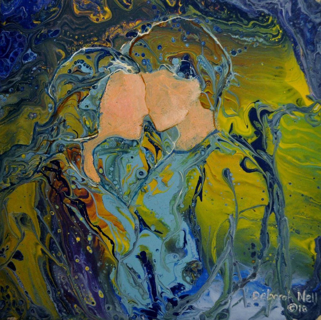 Enchanted Painting, Enhanced Acrylic Pour, Fluid Art
