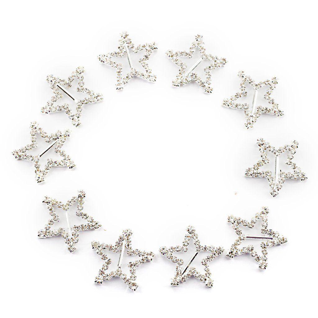 10pcs Star Shape Rhinestone Ribbon Buckles Sliders