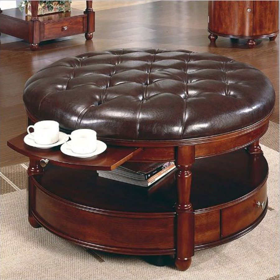 Brown decorations round leather ottoman coffee table