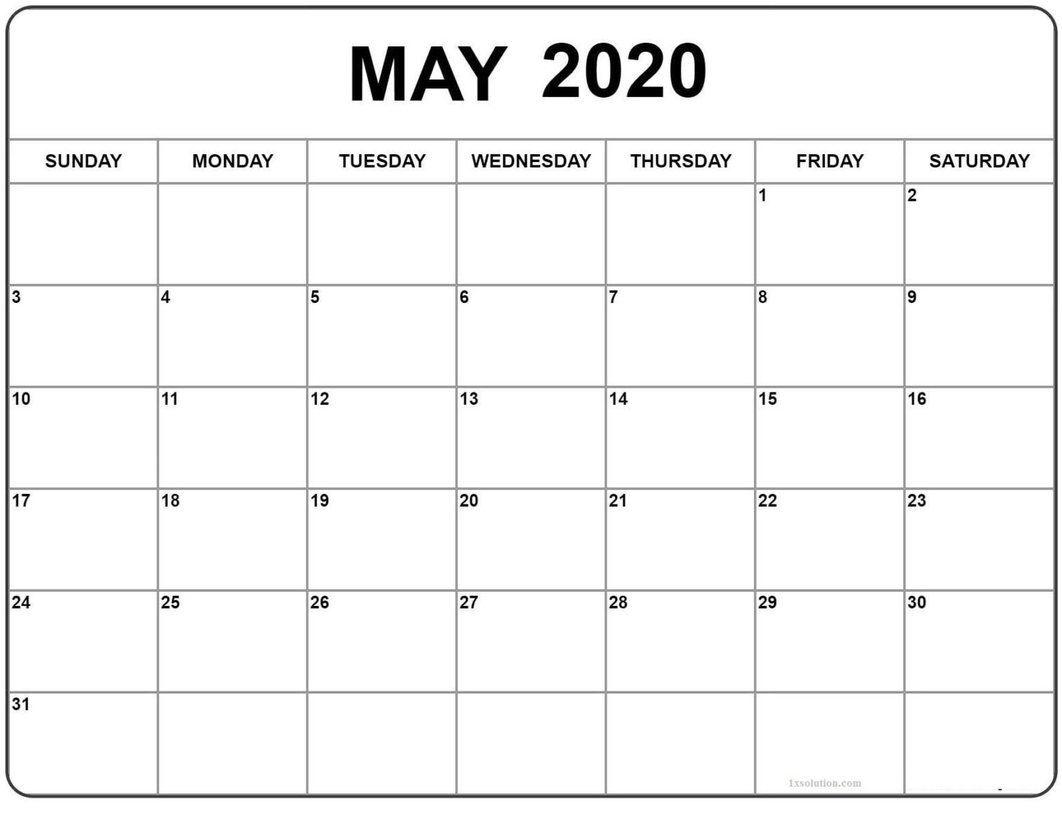 Download Blank May 2020 Calendar For Your Daily Schedule In