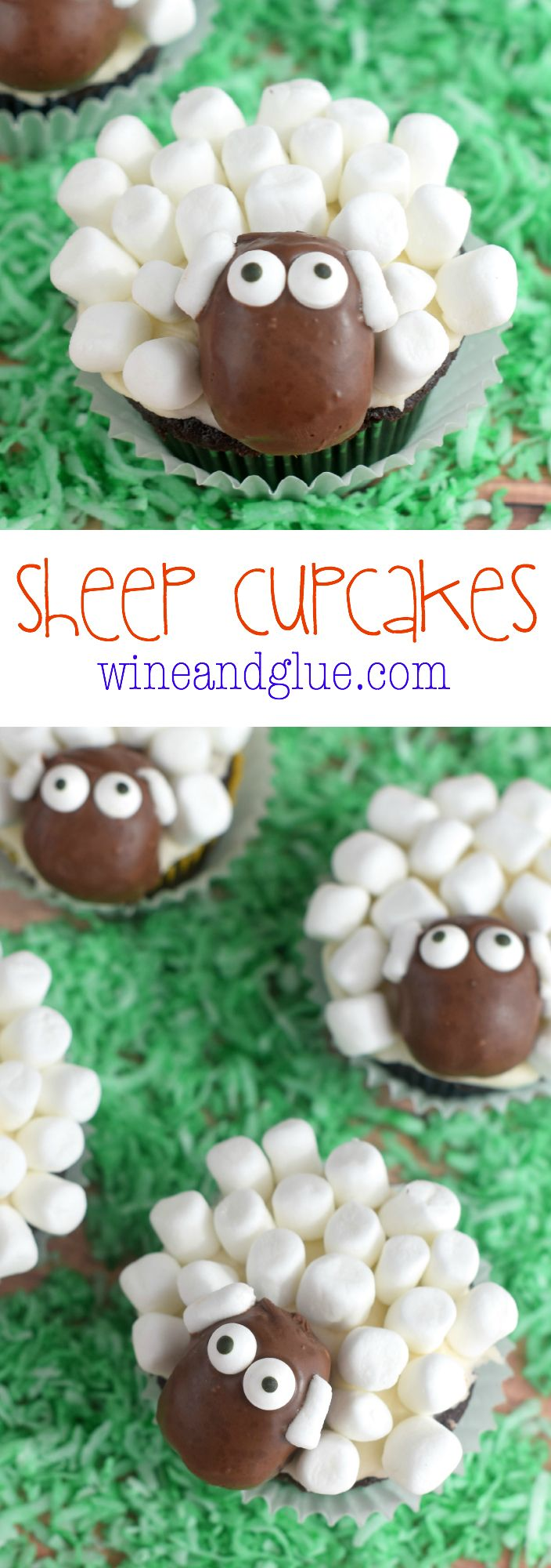 sheep cupcakes! | www.winendglue | from scratch chocolate