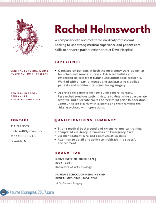 Think your resume cannot get any better? Check out this medical resume format 2017 and see theapproaches you can take. For more info click here http://www.resumeexamples2017.com/medical-resume-examples-2017/