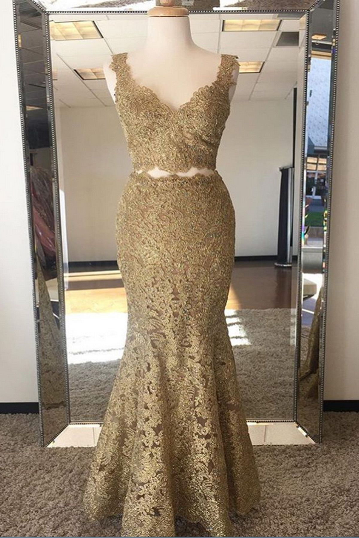 Gold lace two pieces long mermaid evening dress long spring party