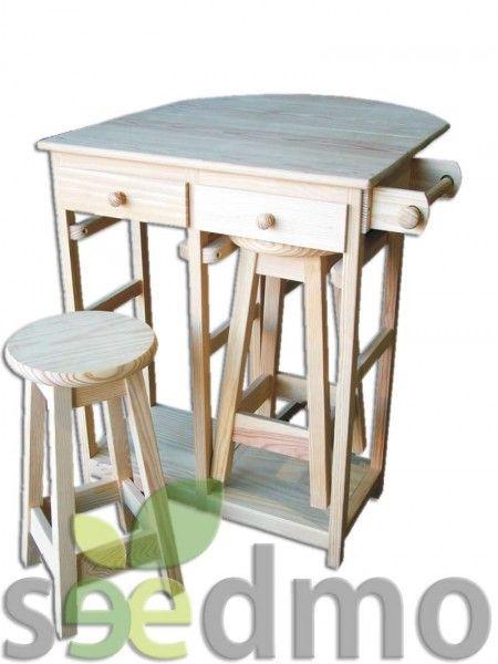 Mesa de cocina con dos taburetes ala plegable, cajones y ruedas ...