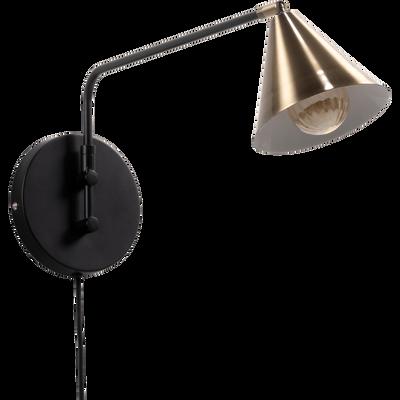 Applique En Metal Noir Et Dore 22 5x15x50 5cm Alinea Metal Noir Lumiere De Lampe Et Linge De Toilette
