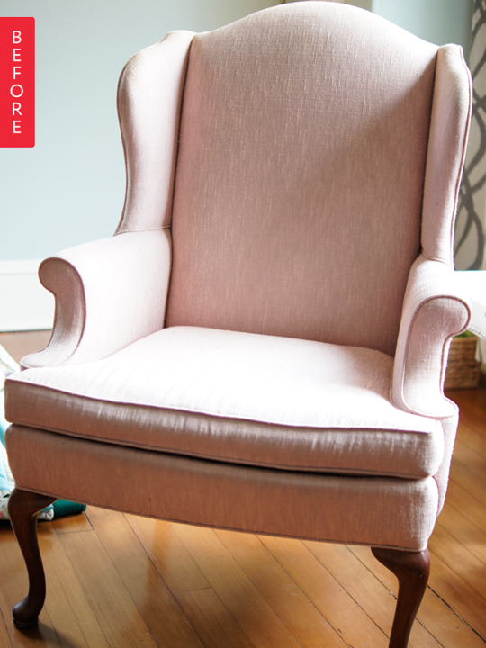 Before & After Wingback Chair Gets a Wild Waverly Print