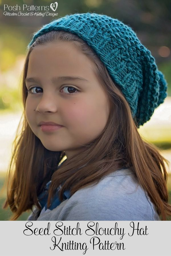 Knitting Pattern - This incredibly elegant knit slouchy hat pattern  features a classic seed stitch design and a cozy 7707003248f