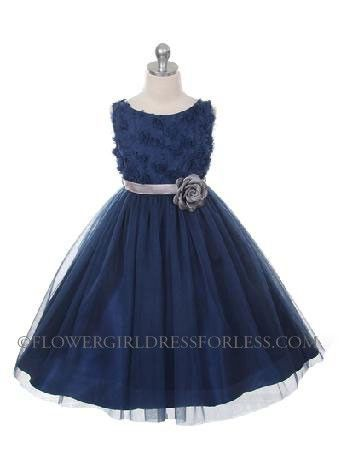 127605fe156 MB 278NV - Flower Girl Dress Style 278 - NAVY Sleeveless Tulle Dress with Mesh  Rolled Flowers - Dark Blue - Flower Girl Dress For Less