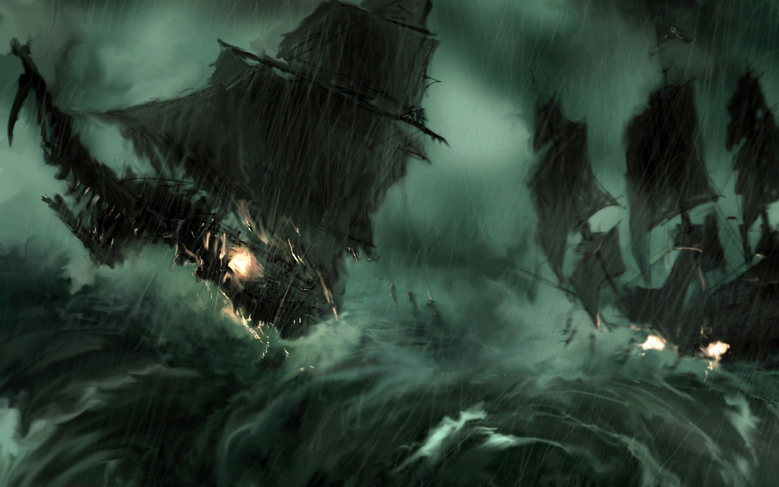 paintings rain pirate ship storm Pirates of the Caribbean artwork sail ship  / 2560x1600 Wallpaper