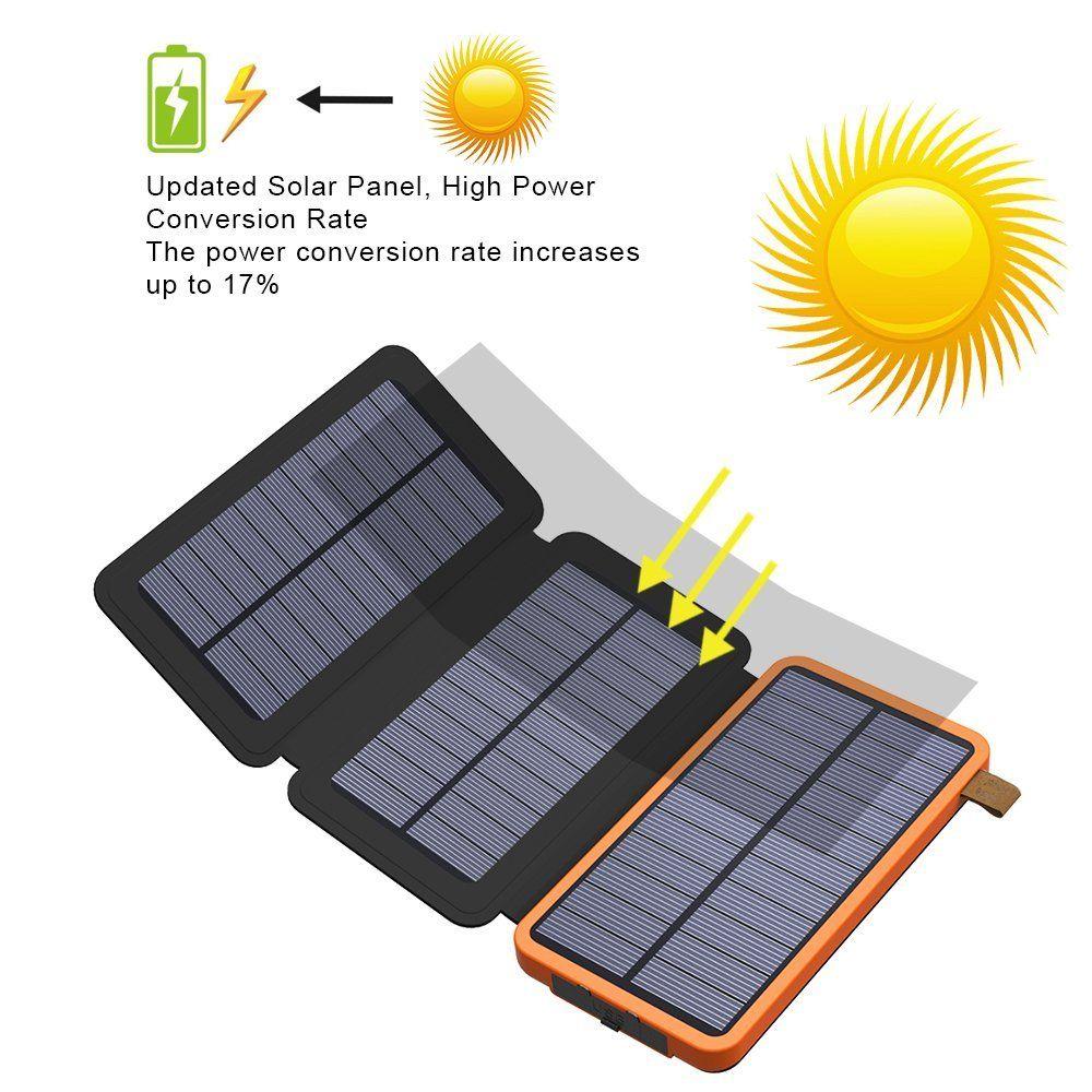 X Dragon 10000mah Solar Power Bank With 3 Solar Panels Solar Power Bank Portable Solar Power Solar Panel Battery