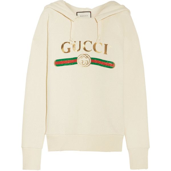 Gucci Embroidered cotton-jersey hooded top ($2,600) ❤ liked on Polyvore  featuring tops