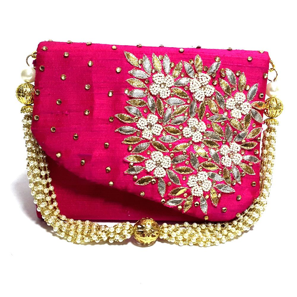 3675efba1 Indian Handmade Wedding Valentine Party Evening Hot Pink Clutch Purse  Wristlet #Handmade #Clutch