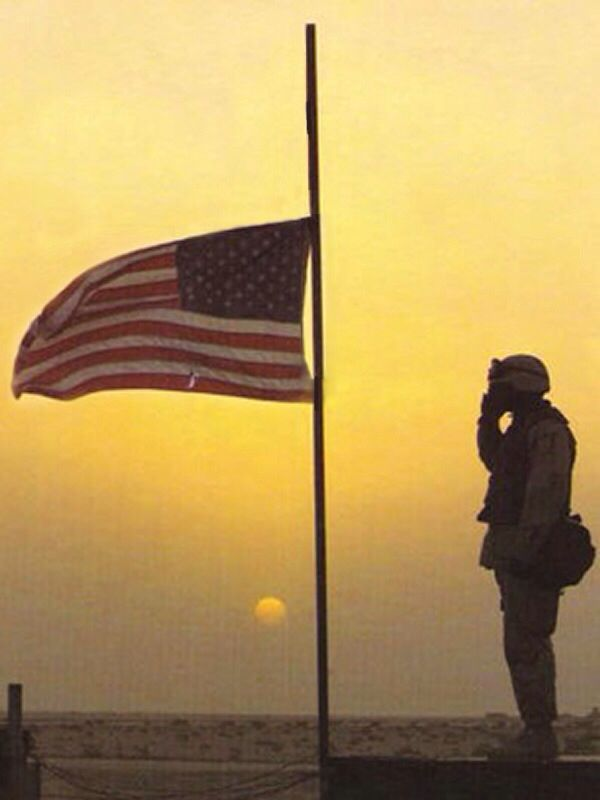 American Usa Flag At Half Staff Military Soldier Saluting American Soldiers God Bless America Half Mast