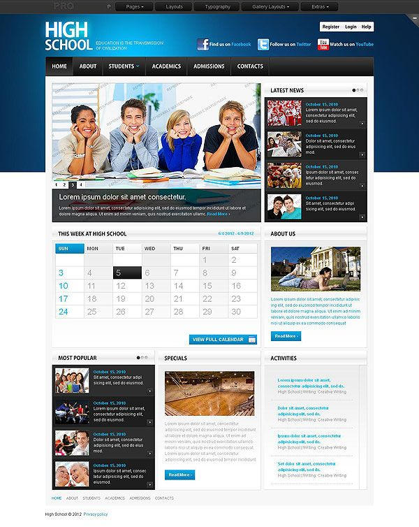 High School Website Template   An eye-catching collection of ...