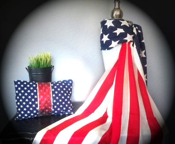 American Flag Scarf Patriotic Shawl Wrap Red White by WrapWrapper