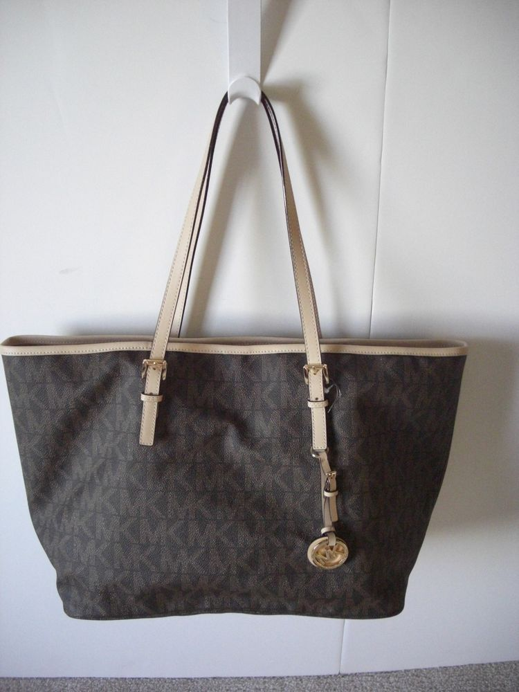 8ede6ecd0991 Michael Kors Jet Set Medium Travel Tote PVC Brown Monogram NWT #MichaelKors  #TotesShoppers