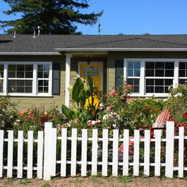 Green house yellow door, black shutters. I think this is how I\'d ...