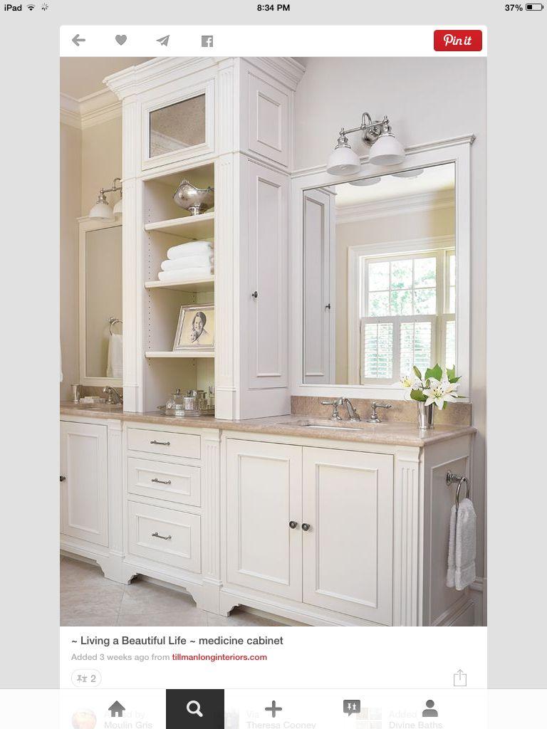Side med cabinet; rolled towels & baskets in center... or a door ...