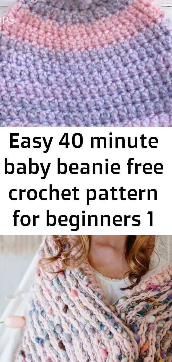 Easy 40 minute baby beanie free crochet pattern for beginners 1 :  Easy 40 Minut…