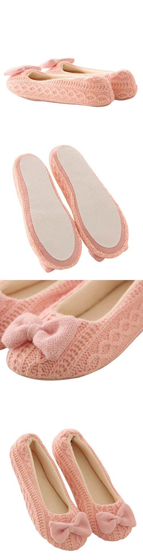 Yoga Shoes, ✽ANGLIN✽ Women Indoor Bowknot Cashmere Warm Yoga Shoes (S, Pink)
