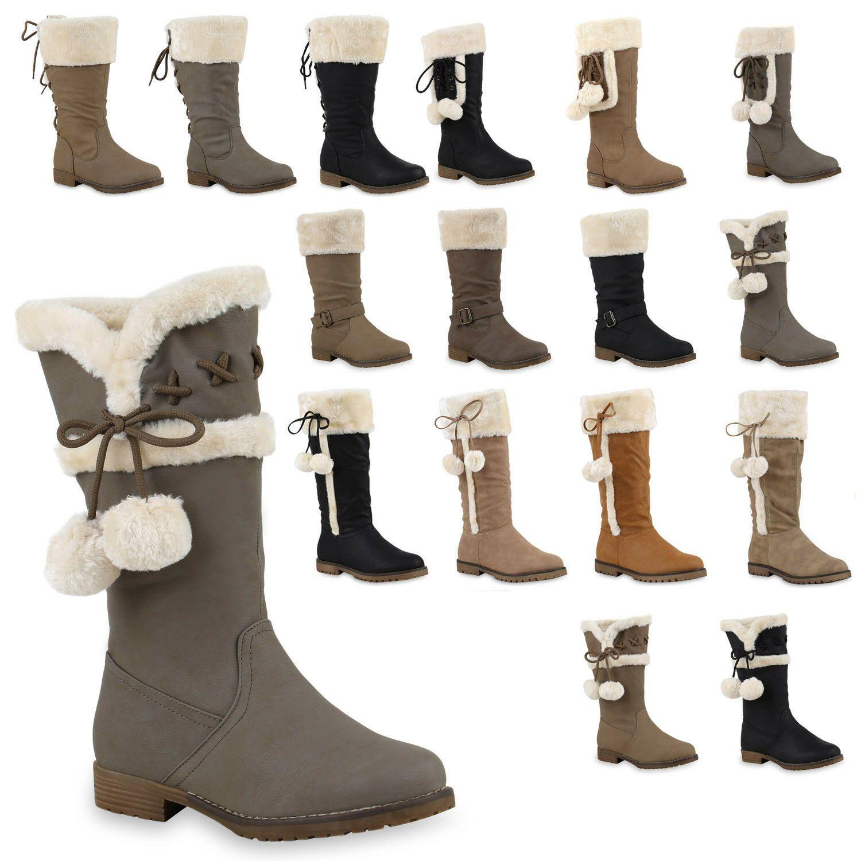 893859 Damen Worker Boots Warm Gefütterte Stiefel Profil