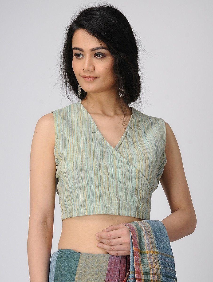 Buy Cyan Handloom Cotton Blouse Online at Jaypore.com -   - #blouse #blousedesignslatest #blousedesignslatestboatneck #blousedesignslatestbridal #blousedesignslatestsilk #buy #COTTON #Cyan #handloom #jaypore #Jayporecom #online
