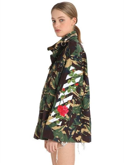 170271495895d OFF-WHITE EMBROIDERED CAMO CANVAS FIELD JACKET, MILITARY GREEN. #off-white  #cloth #casual jackets
