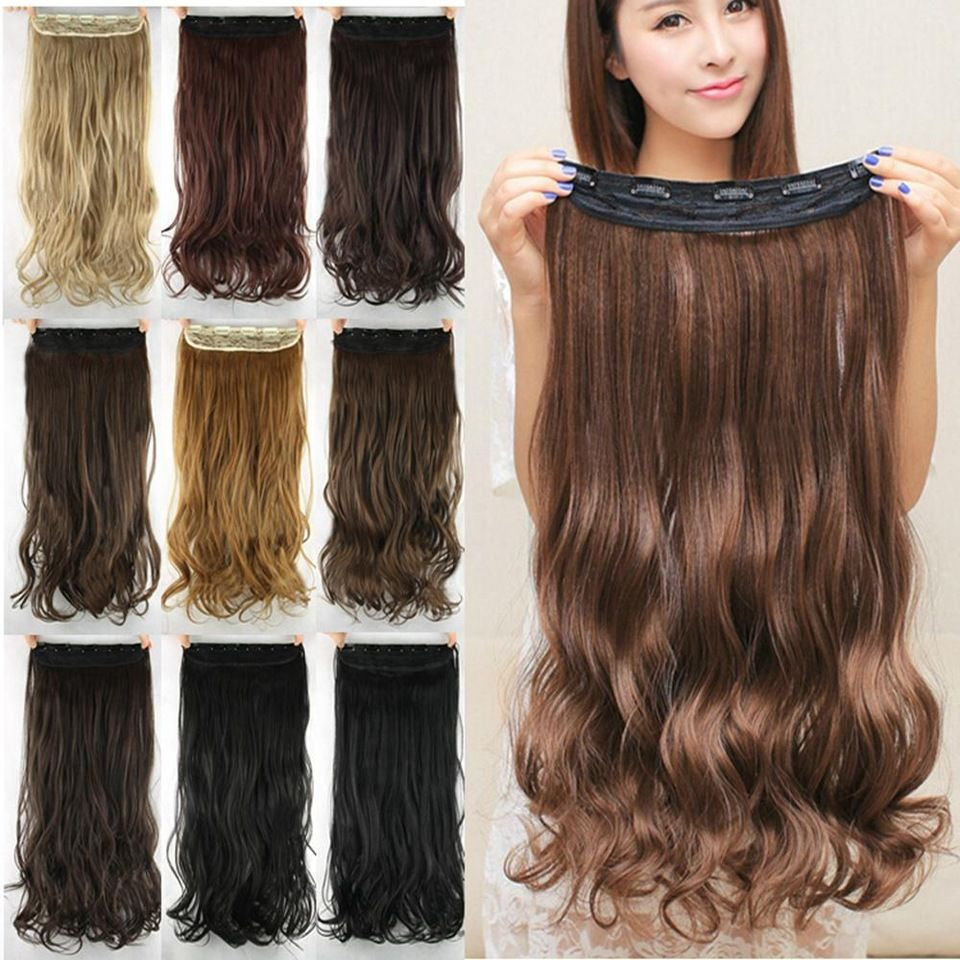 10 Colors 60cm Wavy 5 Clips In False Hair Styling Synthetic Clip In Hair Extensions One Piece He Natural Wavy Hair Hair Extensions Best Clip In Hair Extensions