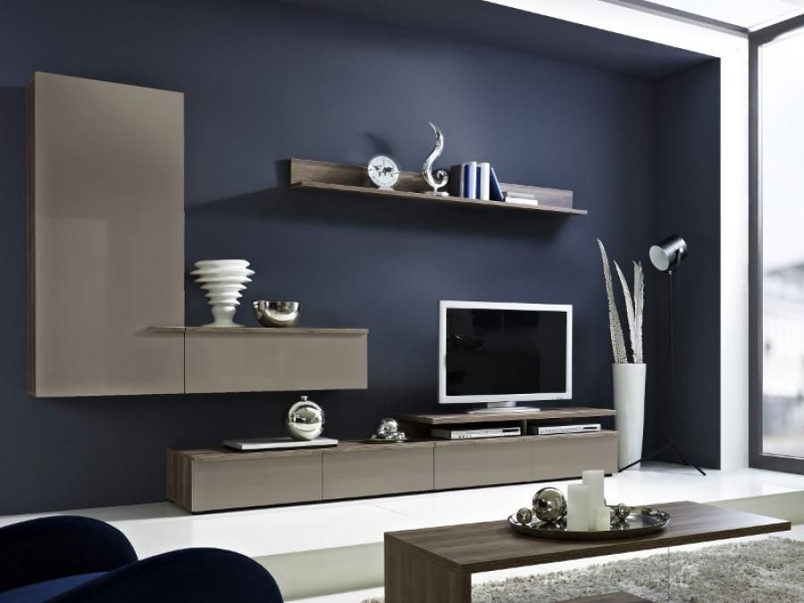 arte m linea contemporary tv unit and wall storage in white or grey with oak detail newtv. Black Bedroom Furniture Sets. Home Design Ideas