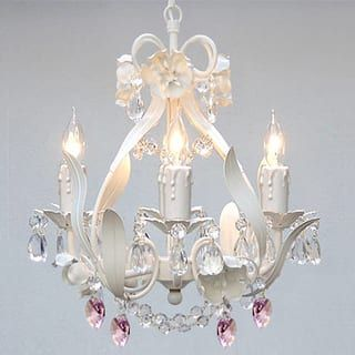 Attirant Gallery Wrought Iron And Crystal Mini 4 Light Chandelier