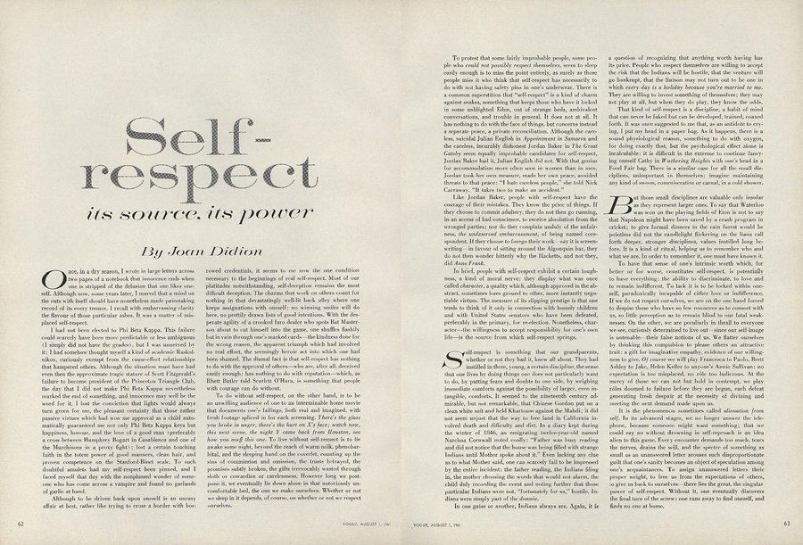 on self respect joan didion s essay from the pages of