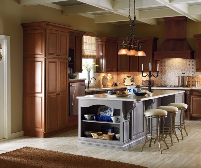 Cherry Cabinets With A Painted Kitchen Island Masterbrand Painted Kitchen Island Cherry Cabinets Kitchen Maple Kitchen Cabinets