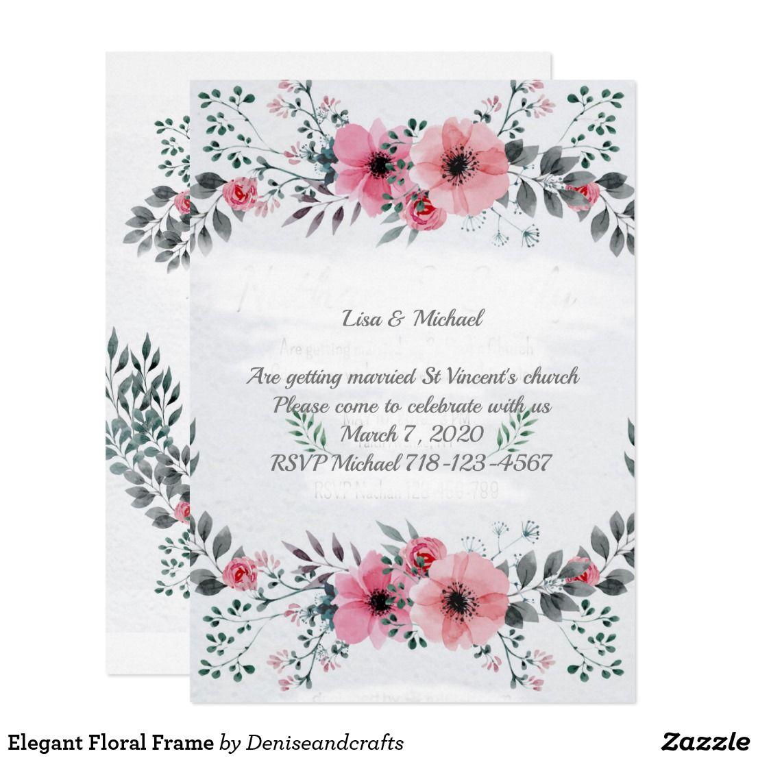 Elegant Floral Frame Invitation Beautiful invitations