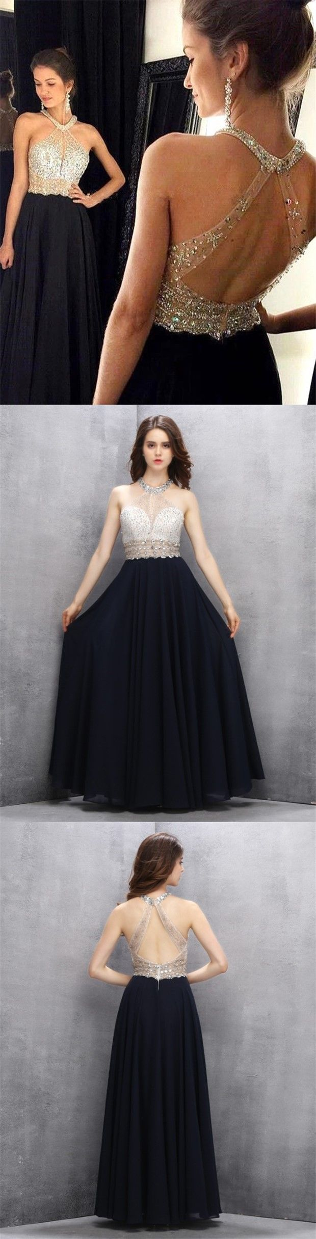 83713c98546 A-Line Jewel Keyhole Black Chiffon Open Back Prom Dress with Beading ...