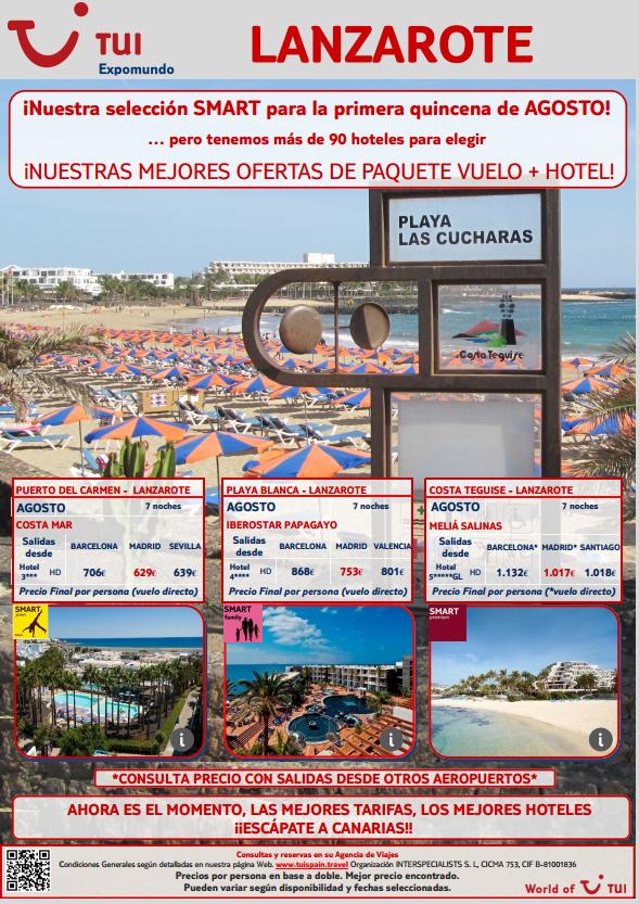 Disfruta de #Lanzarote en #agosto con nuestra #oferta #smart de #vuelo y #hotel