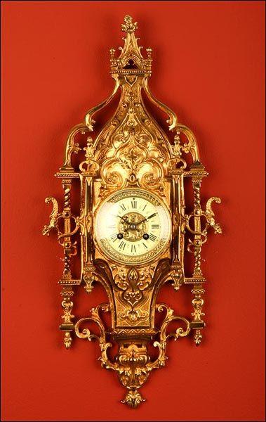 Reloj De Pared Neogótico En Bronce Con Maquinaria París De 8 Días 1900